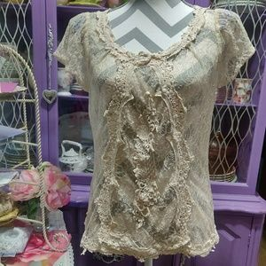 Anthropologie Lace & Embroidered Top Size 12